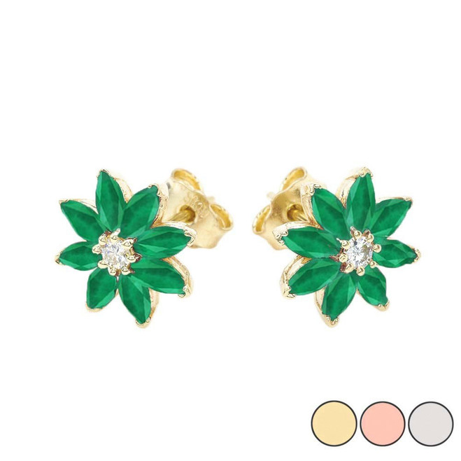 Emerald and Diamond Daisy Stud Earrings In 10K Gold (Yellow/Rose/White)
