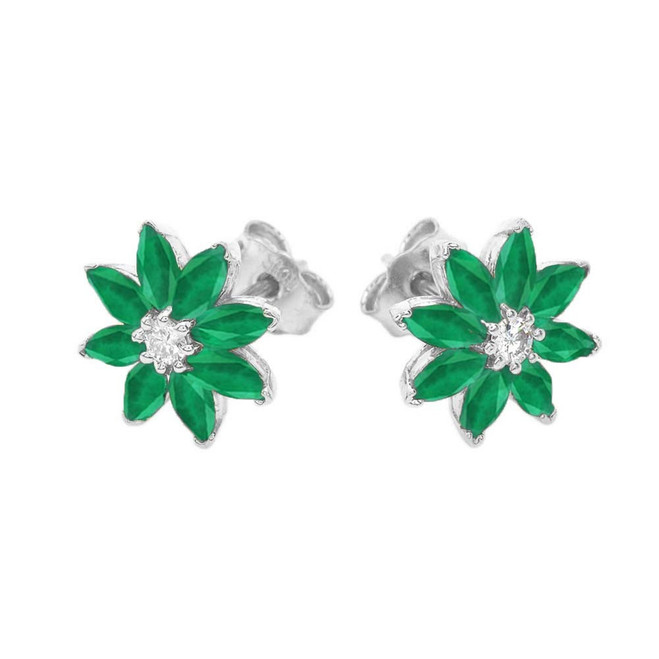 Emerald and Diamond Daisy Stud Earrings In 14k Gold (Yellow/White)