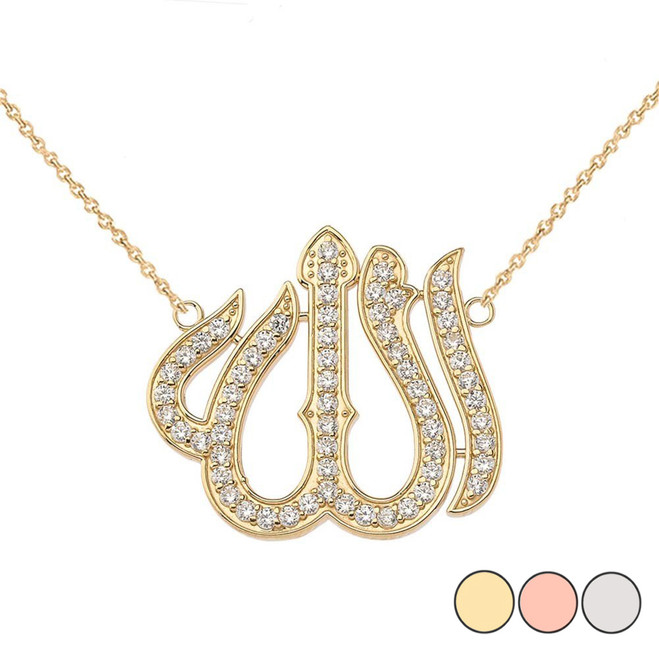 Cubic Zirconia Allah Necklace in 14K Gold(Yellow/Rose/White)