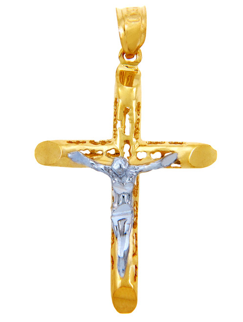 Two Tone Gold Crucifix Pendant - The Love Crucifix