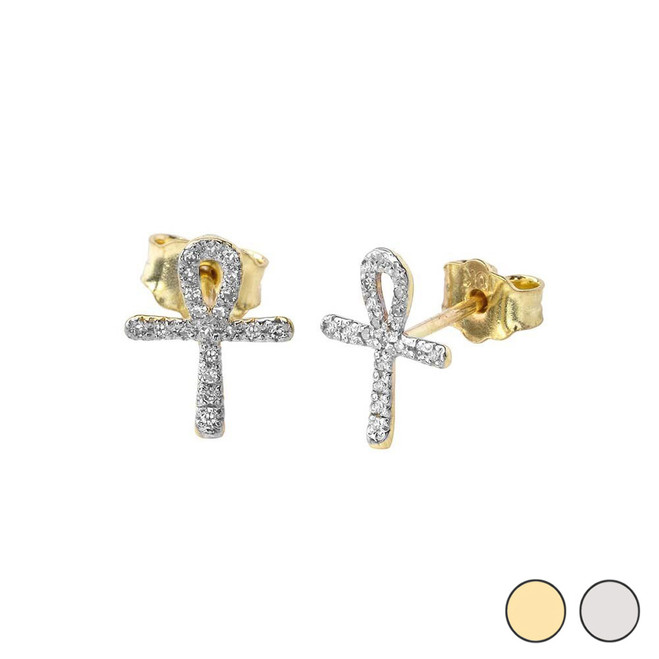 Mini Diamond Ankh Cross Earrings in Gold (Yellow/White)