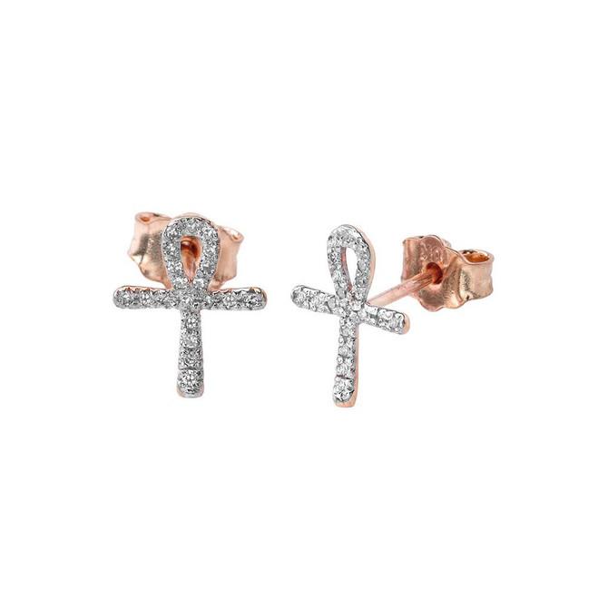Mini Diamond Ankh Cross Earrings in 10K Rose Gold