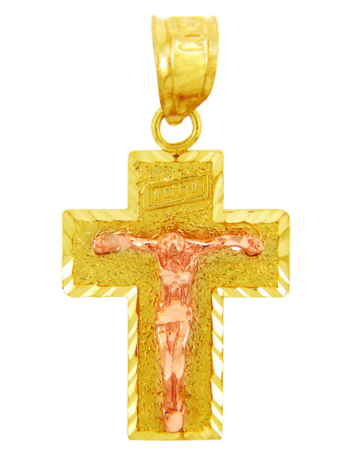 Two Tone Gold Crucifix Pendant - The Adoration Crucifix