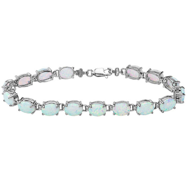Oval Opal (8 x 6) Tennis Bracelet in Sterling Silver
