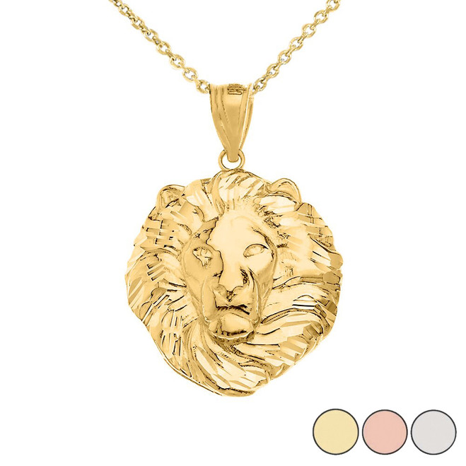 Lion King Head Pendant Necklace in Gold (Large) 1.61 in. (Yellow/Rose/White)