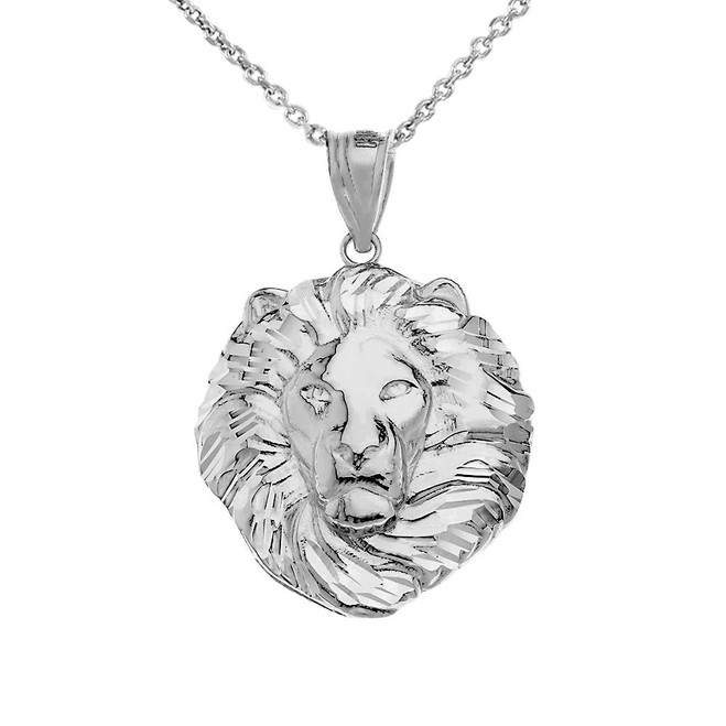 Lion King Head Pendant Necklace in .925 Sterling Silver (Large)
