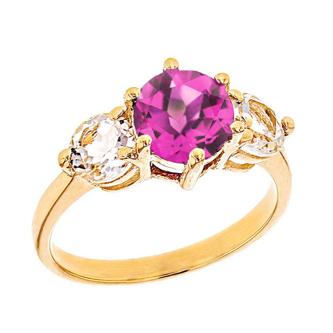 Yellow Gold Lab Created Alexandrite and White Topaz Engagement/Promise Ring