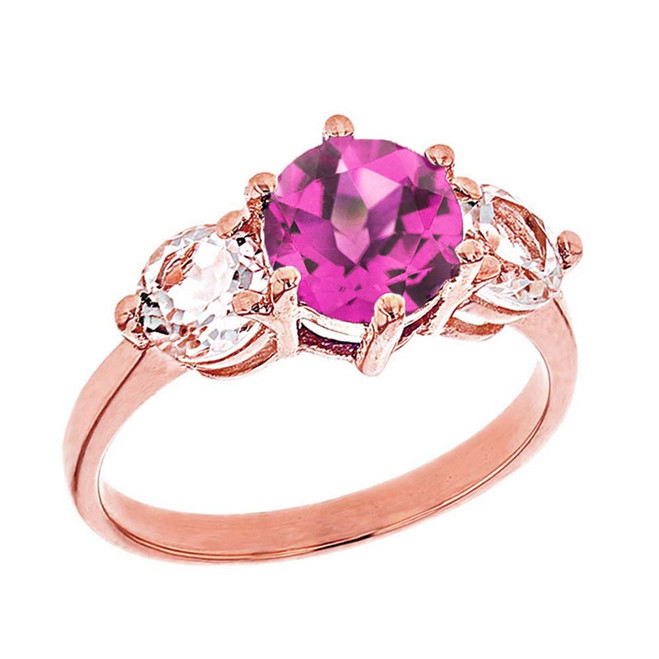 Rose Gold Lab Created Alexandrite and White Topaz Engagement/Promise Ring