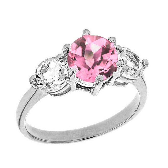 White  Gold Pink CZ and White Topaz Engagement/Promise Ring