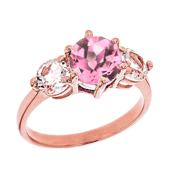 Rose Gold Pink CZ and White Topaz Engagement/Promise Ring