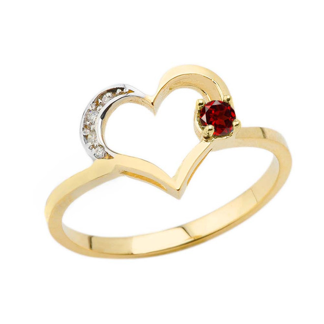 January Birthstone Genuine Garnet and Diamond Heart Ring In Yellow Gold