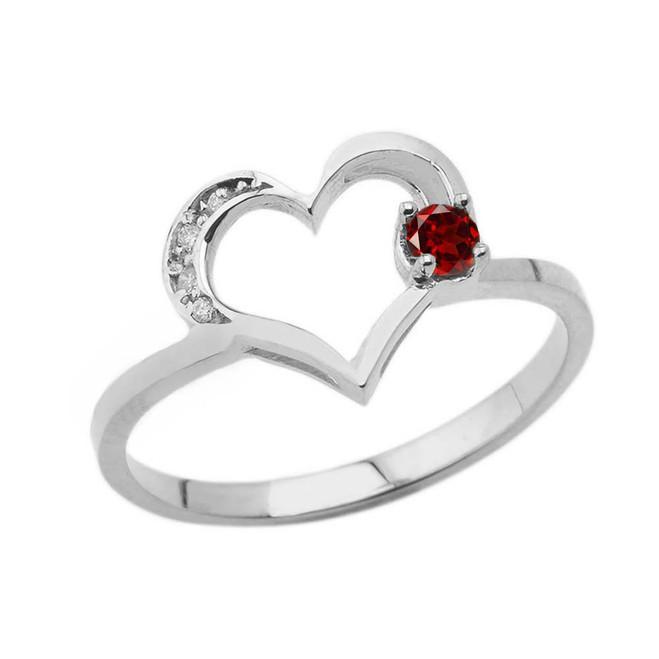 January Birthstone Genuine Garnet and Diamond Heart Ring In White Gold