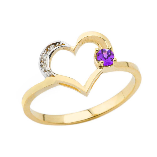 February Birthstone Genuine Amethyst and Diamond Heart Ring In Yellow Gold