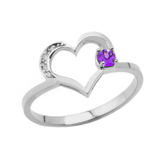 February Birthstone Genuine Amethyst and Diamond Heart Ring In White Gold
