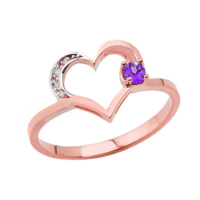 February Birthstone Genuine Amethyst and Diamond Heart Ring In Rose Gold
