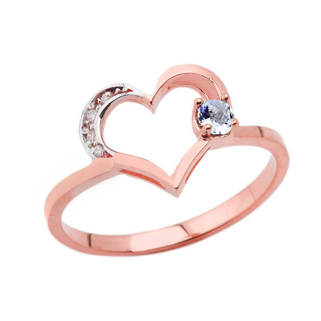 March Birthstone Aquamarine and Diamond Heart Ring In Rose Gold
