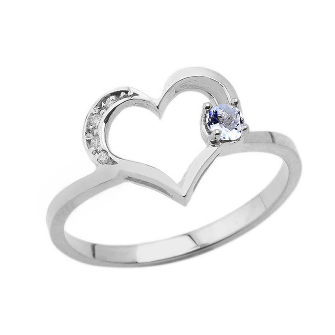 March Birthstone Aquamarine and Diamond Heart Ring In White Gold