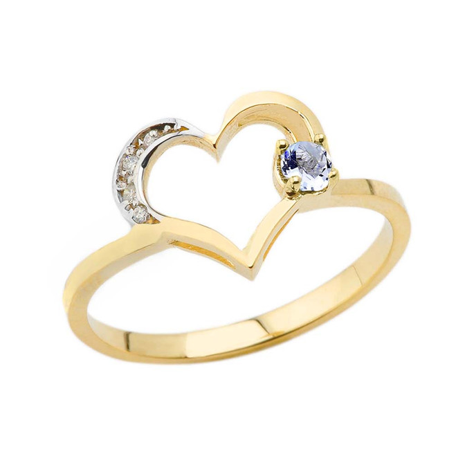 March Birthstone Aquamarine and Diamond Heart Ring In Yellow Gold