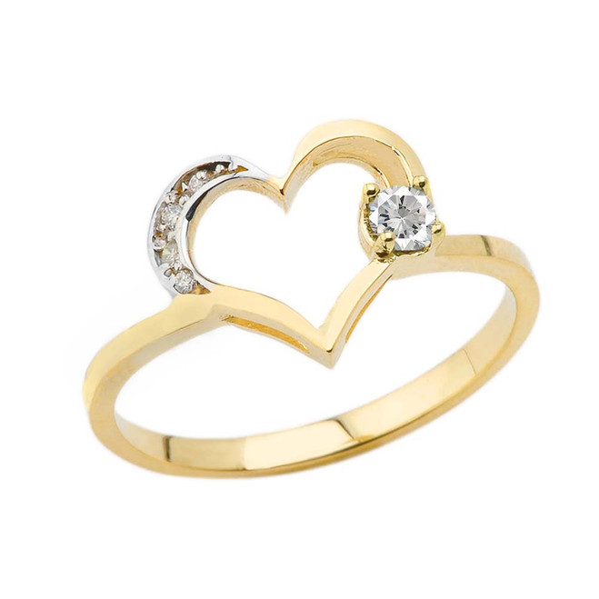 April Birthstone Cubic Zirconia and Diamond Heart Ring In Yellow Gold