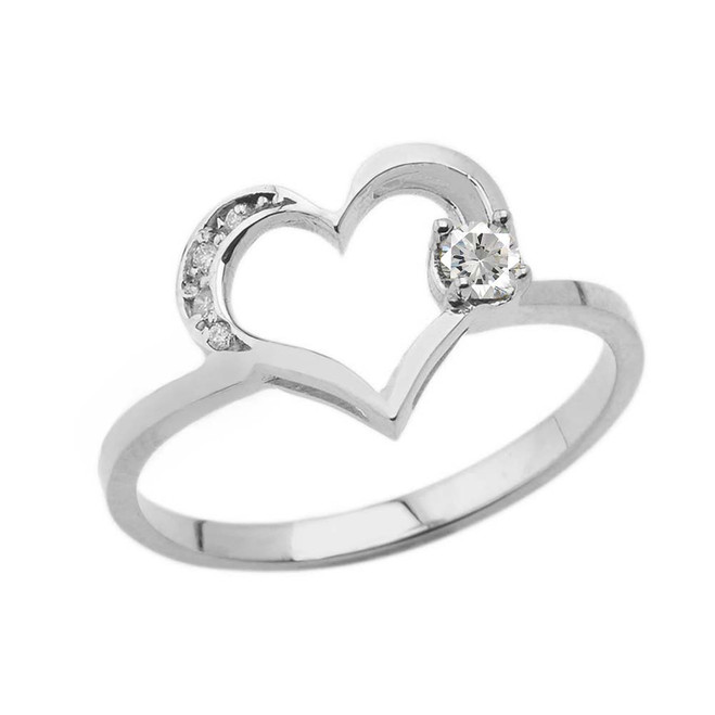 April Birthstone Cubic Zirconia and Diamond Heart Ring In White Gold