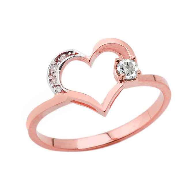 April Birthstone Cubic Zirconia and Diamond Heart Ring In Rose Gold