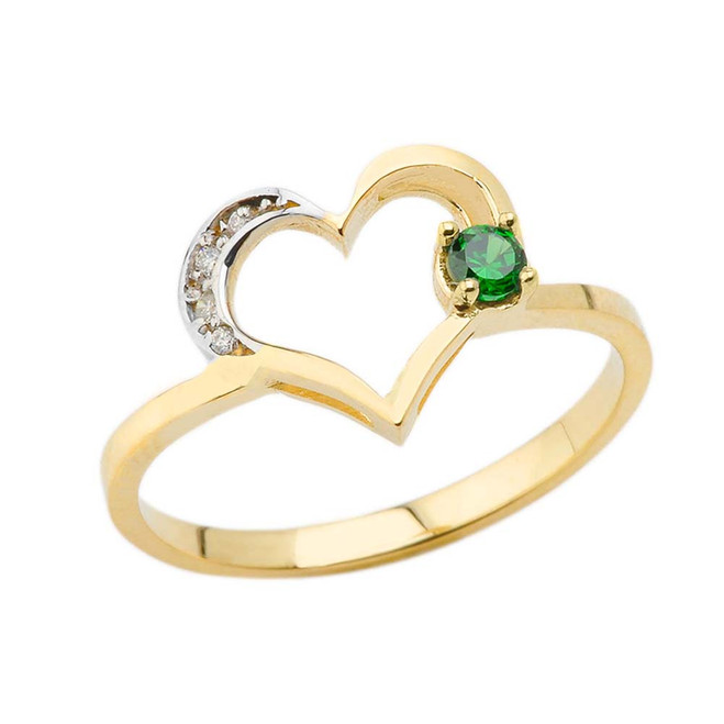 May Birthstone Emerald and Diamond Heart Ring In Yellow Gold