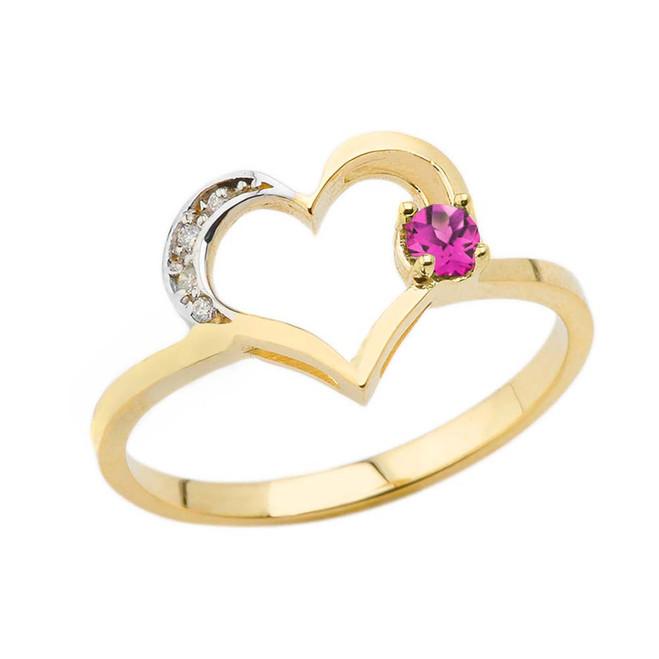 June Birthstone Alexandrite CZ and Diamond Heart Ring in Yellow Gold