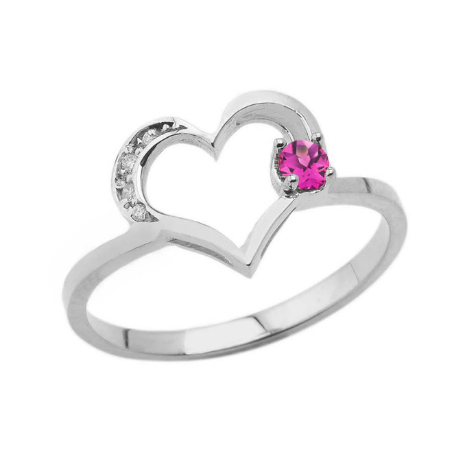 June Birthstone Alexandrite CZ and Diamond Heart Ring in White Gold