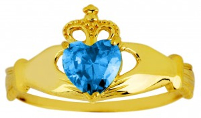 Blue topaz CZ birthstone Claddagh ring in 10k or 14k yellow gold.