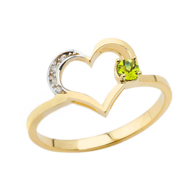 August Birthstone Peridot and Diamond Heart Ring In Yellow Gold