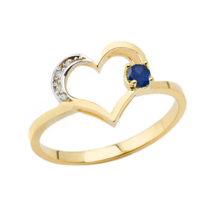 September Birthstone Sapphire and Diamond Heart Ring In Yellow Gold