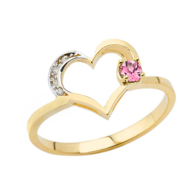 October Birthstone Pink CZ and Diamond Heart Ring In Yellow Gold