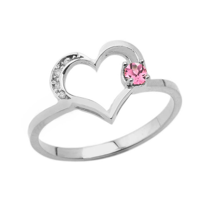 October Birthstone Pink CZ and Diamond Heart Ring In White Gold