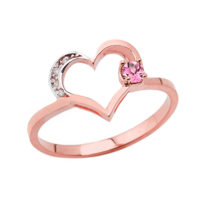 October Birthstone Pink CZ and Diamond Heart Ring In Rose Gold