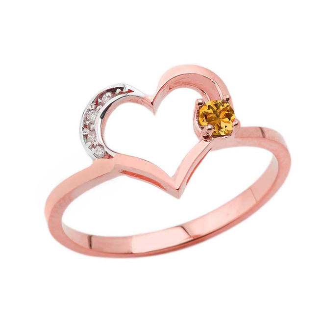 November Birthstone Citrine and Diamond Heart Ring In Rose Gold