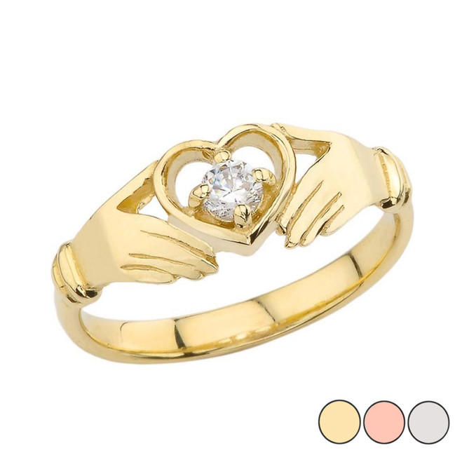 .15 CT Diamond Classic Claddagh Ring in Yellow Gold