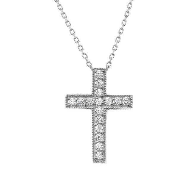Diamond Cross Necklace in Solid Sterling Silver