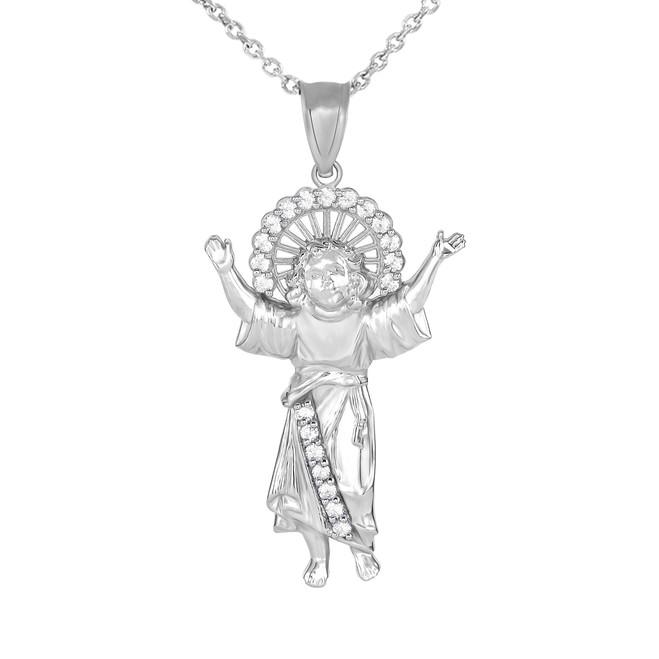 Divino Nino Jesus with CZ Pendant Necklace in White Gold (Medium)