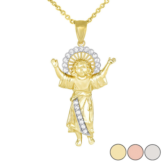 Divino Nino Jesus with CZ Pendant Necklace in Gold (Large) 2.3 in. (Yellow/White/Rose)