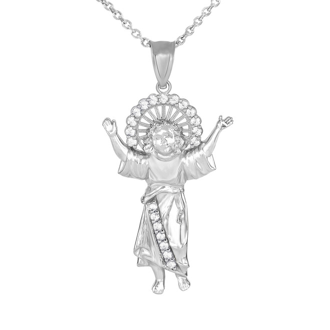 Divino Nino Jesus with CZ Pendant Necklace in White Gold (Large)