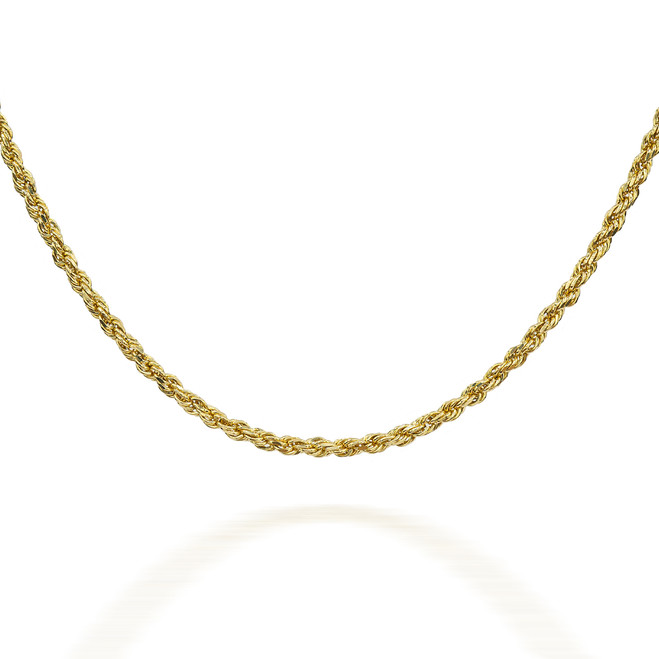 Gold Chains: Rope Solid Gold Chain 1.5mm