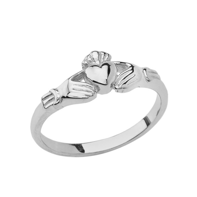 Traditional Claddagh Ring in White Gold