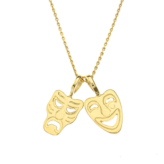Comedy & Tragedy Masks (Sock & Buskin) Pendant Necklace in Yellow Gold