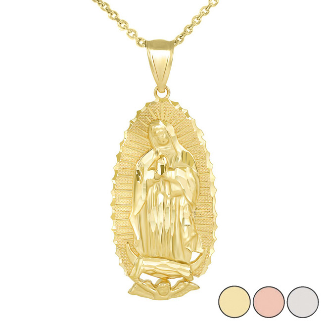 Our Lady Of Guadalupe Pendant Necklace in Gold (Large) 2.47 in. (Yellow/Rose/White)