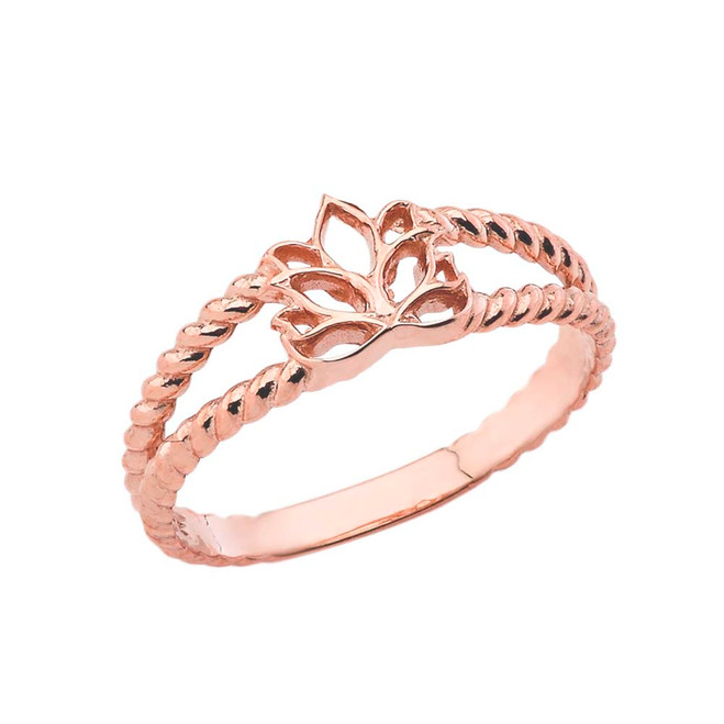 Lotus Flower Double Roped Ring in Rose Gold