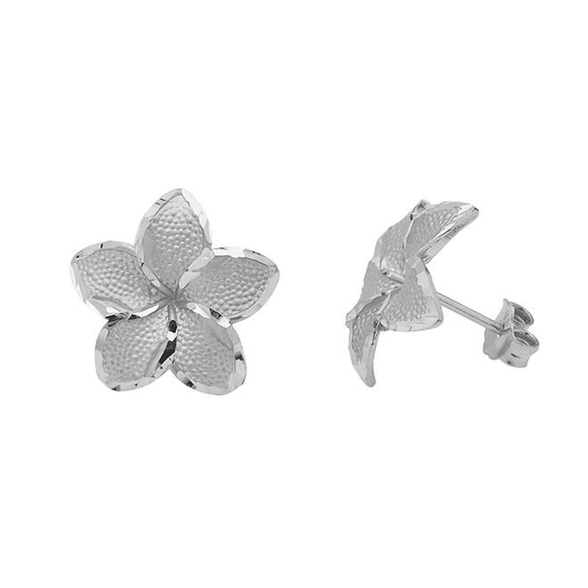 Plumeria Flowers Stud Earrings in White Gold