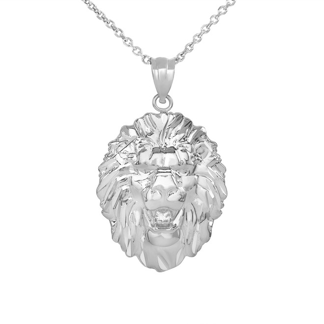Roaring Lion King Head Pendant Necklace in .925 Sterling Silver