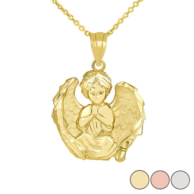 Praying Guardian Angel Pendant with Matte Finished Wings Necklace in Gold (Yellow/Rose/White)