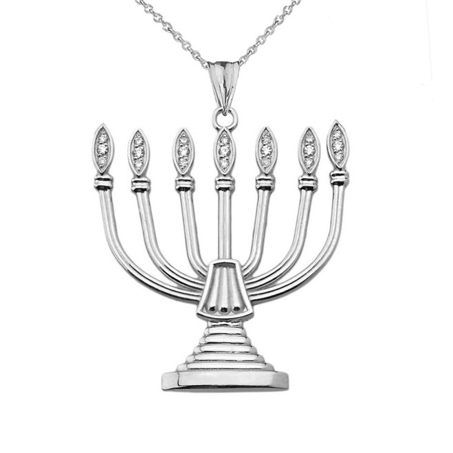 Diamond Holy Temple Menorah Pendant Necklace in Sterling Silver