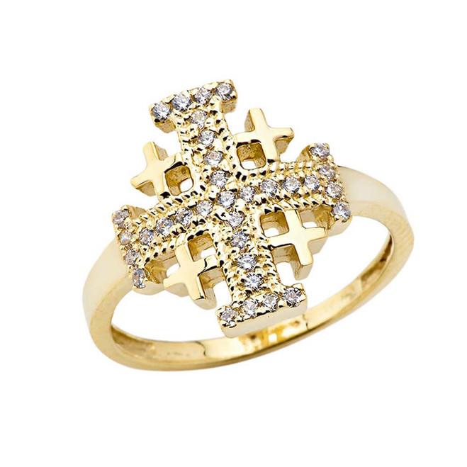 CZ Jerusalem Cross Ring in Yellow Gold